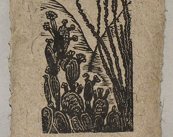 Small woodcut Southwest flora Prickly Pear and Ocotillo Mojave Desert