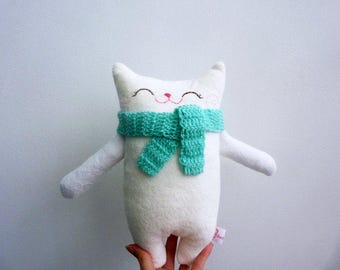 Stuffed cat, stuffed animal, cloth cat, doll cat, plush cat, nursery decor, cat softie, white cat, stuffed for kids, plush doll, plushie