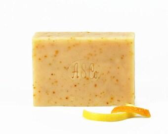 Tangerine Lemon Peel Soap | Natural Citrus Soap, Soap Scrub Bar, Foodie Gift, Gourmet Cook Gift, Kitchen Soap, Natural Soap Lover Gift
