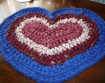 Crochet Rag  Rug Medium Heart in Blue Maroon and White Cotton Ready TO Ship