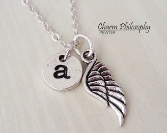 Personalized Angel Wing Necklace - Monogram Initial - Memorial Necklace - Antique Silver Jewelry - Sympathy Gift