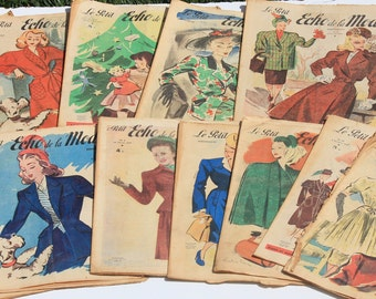 French Magazines ,Fashion and Lifestyle  Magazines  Selection of 13 ,le petit echo 1947, Art Deco