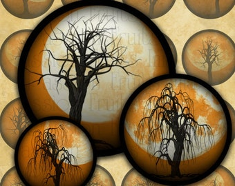 Dead Trees and Full Moons on Orange--Halloween Digital Collage Sheet Bottlecap Circles-- Instant Download
