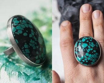 Turquesa Knuckles - Big Sterling Silver Cocktail Ring with Turquoise