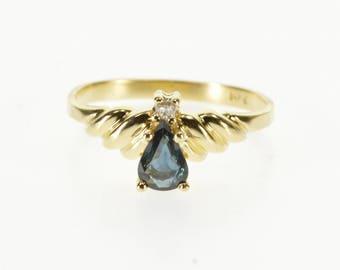 14k Pear Cut Sapphire Diamond Accent Scalloped Ring Gold