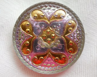 Lavender irridescent with Gold Czech glass button ~ 1  and  1/4  inch