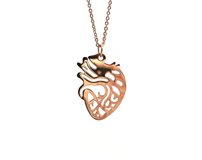 ANATOMY: rose gold anatomically correct heart necklace