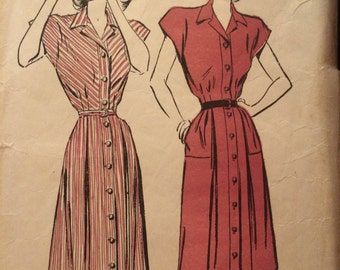 Pretty 1940's Shirtwaist Dress Pattern---Advance 4557