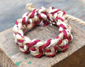 Mens Boho Jewelry, Mens Boho Bracelet, Red and White Macrame Bracelet, Knotted Bracelet, Mens Bohemian, Chunky Bracelet, Thick Knot Bracelet