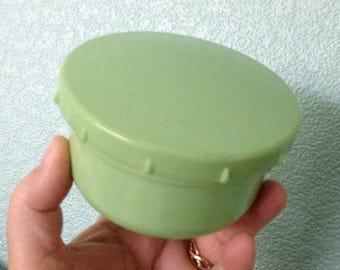 vintage urea formaldehyde pale green bakelite early plastic screw top picnic pot