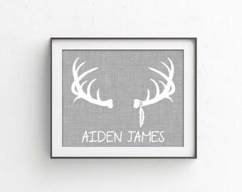 Woodlands Nursery | Custom Deer Antlers Baby Name Sign | Personalized Baby Shower | Rustic Nursery Decor | Deer Antler Print