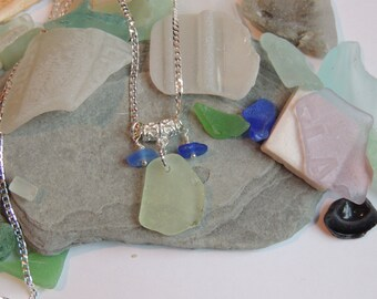 Authentic UV and Cobalt Blue Sea Glass Necklace on a Sterling Silver Chain