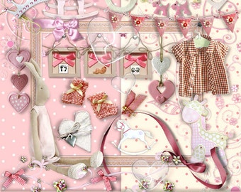 Digital  Elements for  Commercial Use -CU vol 40 -Baby Boy- Pro Photographers Elements -Scrapbooking ,
