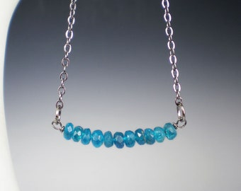 Apatite Necklace, Neon Blue Apatite, Bar Necklace, Gemstone Necklace, Gift For Her, Teal Gemstone Jewelry, Boho Necklace, Teal Necklace