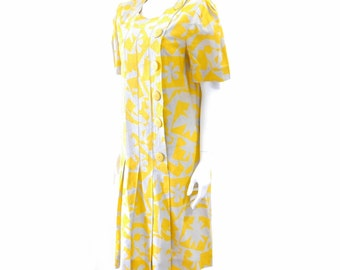 Vintage Albert Nipon Dress// 80s Nipon Boutique Dress //Yellow Linen Blend Dress //Button Down Dress //Size 12// 128