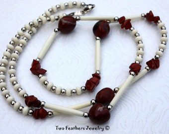 Red Jasper And Bone Necklace - Red Jasper Necklace - Long Beaded Necklace - Wrap Bracelet - Natural Jewelry - Tribal Style - Gift For Her