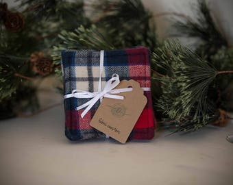 Fabric Coasters, Gift Set, Washable, Absorbant, Stocking Stuffer, Holiday Present, Flannel, Plaid, Red and Blue
