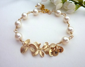 Custom Initial Pearl Bracelet - Swarovski Ivory Cream Pearl with Orchid Flowers and 3 Custom Initials Disc Bracelet
