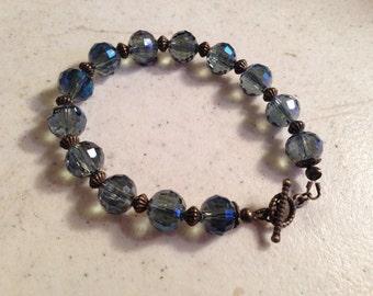 Blue Gray Bracelet - Brass Jewelry - Crystal Jewellery - Fashion - Luxe - Chic - Beaded