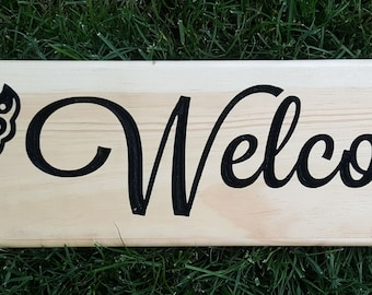 Butterfly Wood Welcome Sign