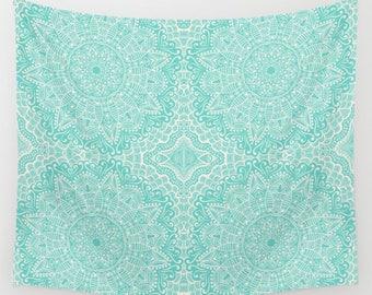 Seafoam Green Wall Tapestry Mandala Design Pattern Boho Tapestry Bohemian Tapestry Dorm Tapestry Nursery Room Tapestries Dorm Tapestry