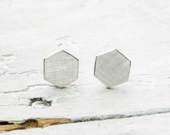 Studs Hexagon, geometric earrings, hexagon, honeycomb, polygon