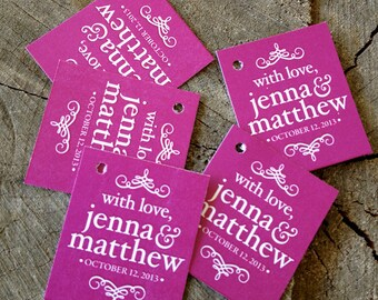 Simple Modern Wedding Favor Tags - Raspberry Color Thank you tags - Wedding Gift Tags - Choose your color Tags - Set of 50