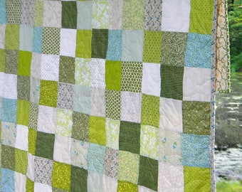Handmade quilt, Rural Farmhouse style bedding, 81 X 81, custom full size patchwork blanket, earthy greens and grays, Unique graduation gift