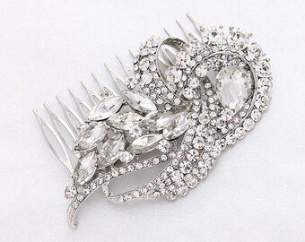 Crystal Hair Pin, Silver Bridal Hair Accessory, Art Deco Wedding Hair Clip, Rhinestone Combs, Vintage Wedding Hair Piece