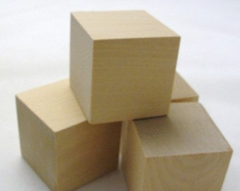 "2 inch wooden cube, 2"" wooden block, unfinished wood cube, 2 inch wooden block, wood block set of 24"