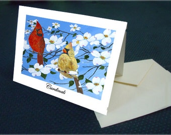 Cardinals in a Dogwood Tree Card