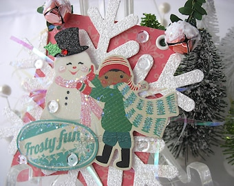 Vintage Style Collage Hanging Ornament~Christmas Ornament~Bunting~Snowflake~Frosty Fun~Snowman~Pink~Green~Red~White~Baby it's Cold Outside