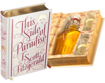 Mini-Bar Hollow Book with Flask & Shot Glasses - This Side of Paradise by F. Scott Fitzgerald (Leather-bound) (Magnetic) (Custom-Etched)