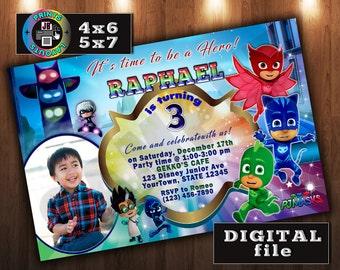 PJ Masks Birthday Invitation, PJ Masks Birthday Party, Gekko, Owlette, Catboy, CUSTOM Digital File, Any age, With Photo