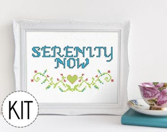 CLEARANCE! Funny Cross Stitch Kit - Serenity Now - Seinfeld Fans Beginner Cross Stitch Kit DIY Embroidery Kit Subversive Cross Stitch