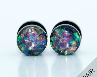 Holographic plugs / 6g, 4g, 2g, 0g, 00g, 1/2, 9/16, 5/8 inch / multi color holographic gauges / pretty plugs / black acrylic screw on plugs