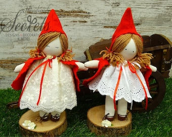 Red Riding Hood, Red Riding Hood Dolls, Handmade Red Riding Hood, Fairytale Characters, Dolls, Handmade Dolls, Set of 2 Dolls, Baby Room