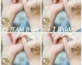 Set of 15 - Bachelorette Party Favor - Bachelorette Gold Tattoo - Metallic Gold Tattoo - Team Bride - Gold Diamond Tattoo