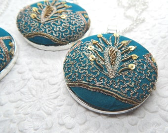 Teal embroidered sequinned necklace, necklace for women, something blue, bridesmaid gifts, pendant measures 1 7/8 inches
