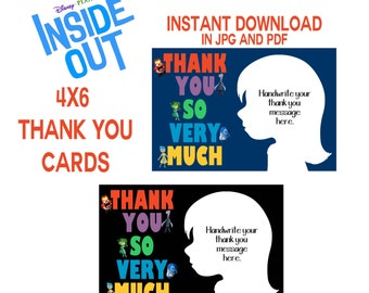 DISNEY INSIDE OUT Thank You Cards, Instant Download