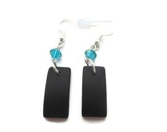 Black Sea Glass Earrings, Black Beach Glass Earrings, Bold Black Earrings, Black Dangle Earrings, Recycled Glass, Turquoise Crystal Earring