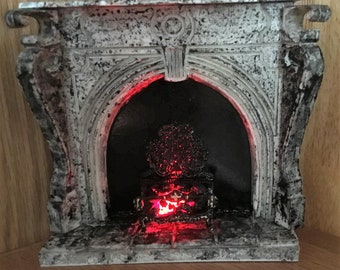 Miniature Fireplace 1:12  Victorian Effect Marble Surround Fireplace With Glowing Effect Firegrate