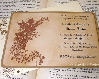 Winter Wedding Invitation/ Angel Embossed Invites SET of 40/ Personalized Invites/ Color Options