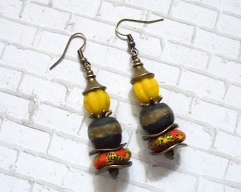 Black, Yellow and Red Ethnic, Tribal, Boho Earrings (3528)