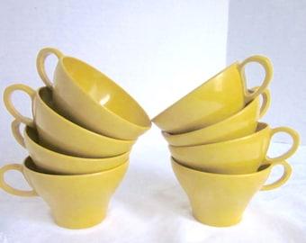 Yellow Melamine Cups Mid Century Harvest Gold Dinnerware Entertaining Set of 8