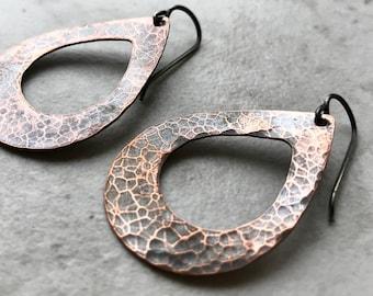 Copper Teardrop and Sterling Silver Earrings - Copper Teardrops on Sterling Silver Earwires
