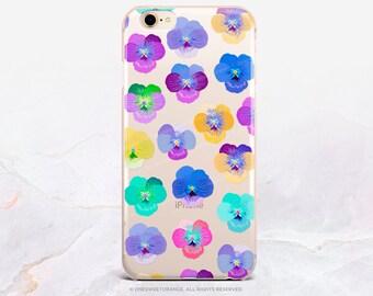 Pansy iPhone 8 Case iPhone X Case iPhone 7 Case Pansies Clear GRIP Rubber Case iPhone 7 Plus Clear Case iPhone SE Case Samsung S8 Case U252