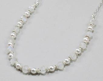 Rainbow Moonstone and Swarovski Pearl Necklace
