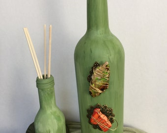 Water Color Jasper Stones Wine Bottle Vase Set, Fragrance Diffuser,Hand Painted, Home Decor