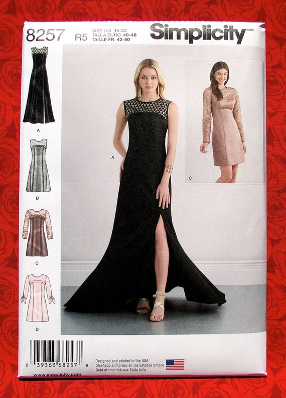 Simplicity Sewing Pattern 8257, Evening Gown, Semi-Formal Dress ...